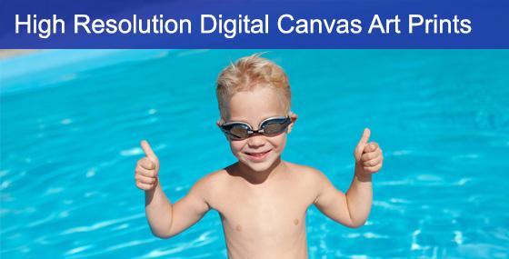 Digital Canvas Art Of Kid In Pool